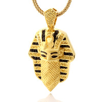 King Ice 14K Gold Multi CZ Bandana Pharaoh Necklace