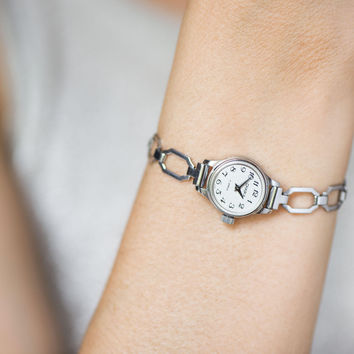 Small women's watch bracelet Seagull, classical lady watch, cocktail watch tiny, party watch silver shade, watch gift her geometric strap