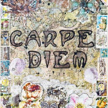 Carpe Diem - PAPER PRINT, typographic print, carpe diem wall art, mixed media collage art, shabby chic