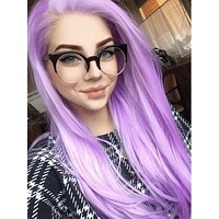Long Pale Lavender Synthetic Lace Front Wig