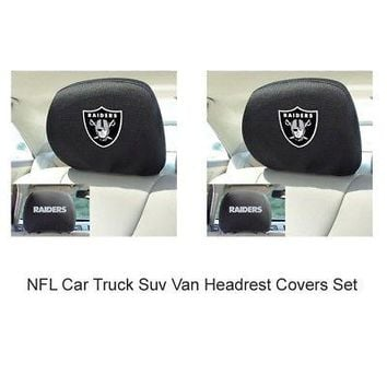 Licensed Official New 2pc NFL Oakland Raiders Automotive Gear Car Truck Headrest Covers Set