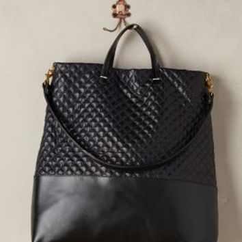 Quilted Shopper Tote by Clare V Navy One Size Bedding