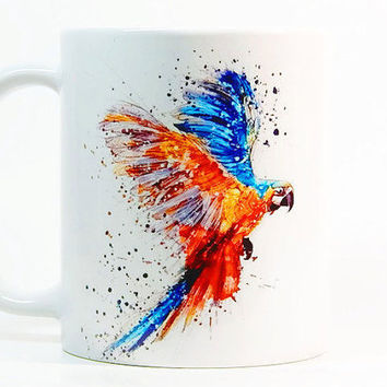 Parrot coffee mug, Parrot Mug Watercolor Mug, Coffee Cup, Tea Cup, Gift for her, Gift for him, Printed mug, Ceramic mug