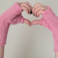 Hand knit fingerless lace gloves in pink