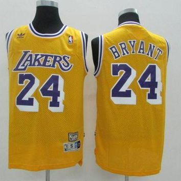 PEAPJ3V LA Lakers #24 Kobe Bryant Yellow Retro Swingman Jersey