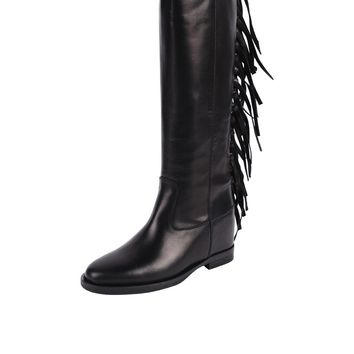 Via Roma Leather Fringe Boot