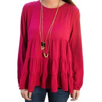 Women's Long Sleeve Loose Casual Spring Round Neck T-shirt Blouse