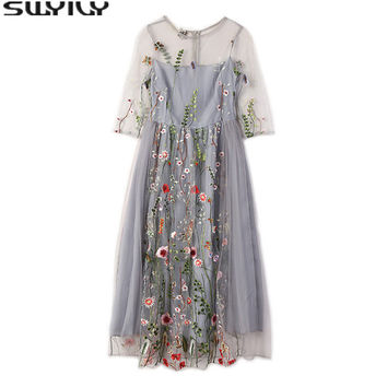 Embroidery Flowers Elegant O-neck Dress 2017 summer Persective Black Mesh Dress Half Sleeves High Waist Mid-caf Length Dress
