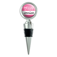 Janice Hello My Name Is Wine Bottle Stopper