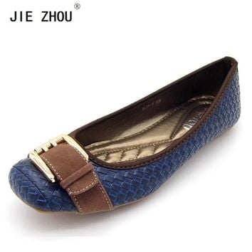 2018 Buckle knitted Women Single Shoes Square Toe Ballet Flats Soft Bottom Fashion Work Shoes Woman Flat shoes