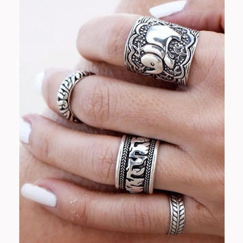 4PCS Vintage Punk Ring Set Carved Antique Silver Elephant Totem Leaf Lucky Ring