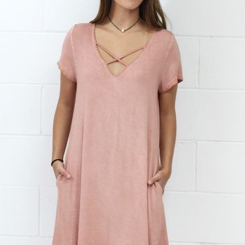 Mineral Wash V-neck Strappy Pocket Dress {Blush} EXTENDED SIZES