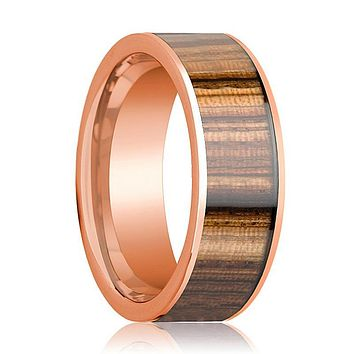 Mens Wedding Band Polished 14k Rose Gold & Zebra Wood Inlay Flat  - 8mm