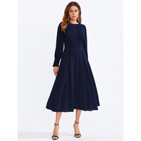 Navy Bishop Sleeve Frilled Pleated Fit Flare Dress