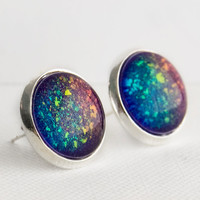 Supernova Post Earrings in Silver - Purple & Rainbow Holographic Earrings