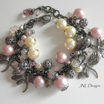 Pink and Victorian Ivory Gunmetal Dragonfly Charm Adjustable Bracelet