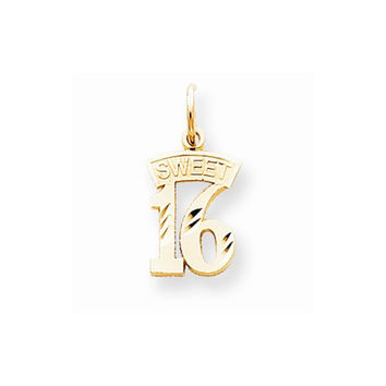 Solid 10k Yellow Gold Sweet 16 Birthday Pendant