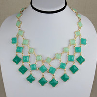 Mint Green Statement Bib Necklace,Square Stone Drama Necklace,Cluster Necklace,Anniversary.Birthdays Gift for Her.Mom