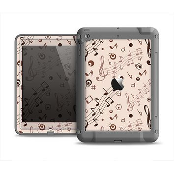 The Tan Music Note Pattern Apple iPad Air LifeProof Fre Case Skin Set