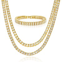 "Jewelry Kay style 16"" + 18"" Double Tennis Chain & 8"" 2 Row Bracelet SET Men's Women's Gold Toned G"