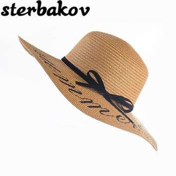 2016 Summer Women Sun Hat Ladies Wide Brim Straw Hats Outdoor Foldable Beach Panama Hats Church Hat Bone Chapeu Feminino