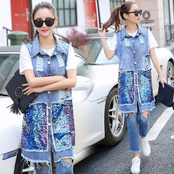 Trendy 2018 new women fashion Sequins Holes Denim vest and long sections Slim jacket AT_94_13