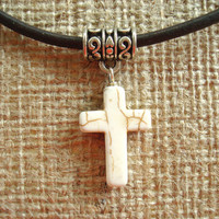 Special Easter Gift. Ivory Colored Stone Cross and Leather Necklace.