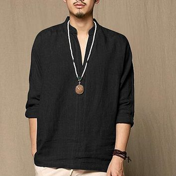 INCERUN Brand Chinese Style Thin Linen Long Sleeve Shirt