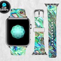 Abalone Shell Paua Shell Green Blue Seashell Tumblr New Apple Watch Band Leather Strap iWatch for 42mm and 38mm Size Metal Clasp Watch Print