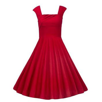 Vintage 1950's Floral Spring Garden Party Picnic Party Cocktail Dress Red