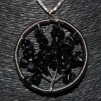 Silver Black Obsidian Tree of Life Pendant Necklace