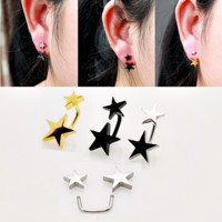 Titanium Anodized Stainless Steel Double Star Ear Stud Earring