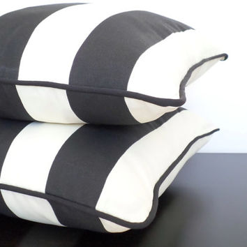 Black outdoor cushion cover,  striped throw pillow cover 20x20, black and ivory outdoor pillow