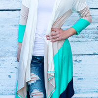 OCEAN SUNSET CARDI IN MINT MULTI