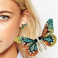 New Fashion Lady Butterfly Wing Earrings Rhinestone Silver Needle Fashionable Wild Individual Stud Earrings