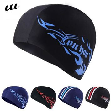 NULL New Summer Outdoor Men's Spandex Swimming Cap Flexible Breathable Quick Dry Swim Hats for Long Hair Hat Swimming Pool MD012