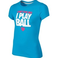 Nike Girls' I Don't Play Nice Short Sleeve Softball Shirt