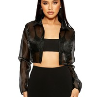 See Me Thru Cropped Blouse - Tops - Womens