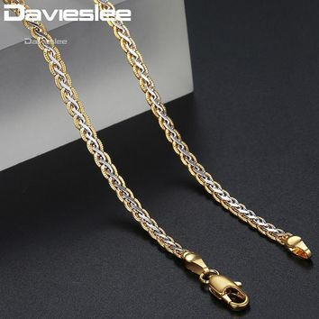 Davieslee Necklace for Women Gold Filled Womens Necklace Chain Hammered Braided Mens Womens Jewelry 3mm 45cm 50cm 55cm DLGN328
