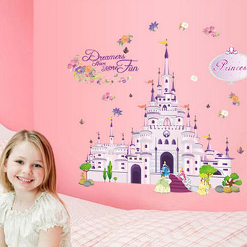 Lovely Prince Princess Castle Dream Wall Stickers