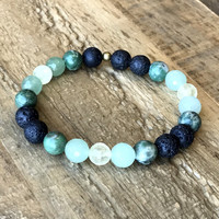 Love' Heart Chakra Aromatherapy Lava Rock and Gemstones Diffuser Bracelet