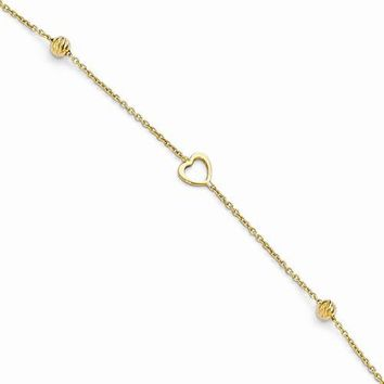 14K Yellow Gold Polished and Diamond-Cut Heart Anklet