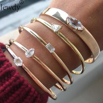 Jewdy Vintage Crystal Gold Color Bracelet Bangles Twist Cuff Open Bangles For Women Boho Jewelry Costume Jewellery 2018 Spring