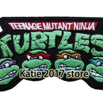 New Teenage Mutant Ninja Turtles Badge Embroidered Iron On Patch, Movie Animal Turtles Face Patch, Kids DIY Clothing Accessories