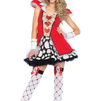 White Rabbit Black Red White Checkerboard Geometric Pattern Puff Cap Sleeve V Neck Flare A Line Mini Dress Halloween Costume