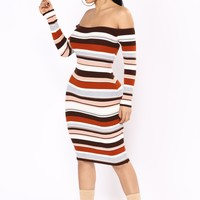 Do I Ever Stripe Dress - Brown Multi