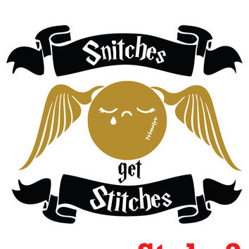 Snitches get Stitches Harry Potter Decal Sticker