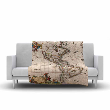 "Bruce Stanfield ""Vintage Map Of The America's "" Brown Green Fleece Throw Blanket"