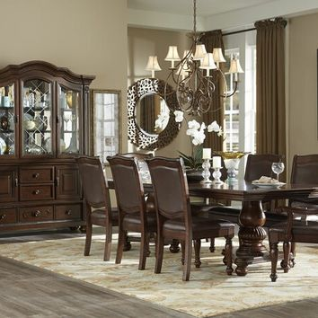 7 pc Lordsburg collection brown cherry finish wood double pedestal dining table set