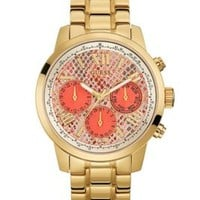 Coral and Gold-Tone Feminine Classic Sport Watch